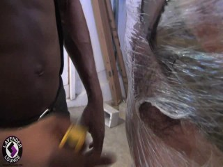 Interracial BDSM Plastic Wrap Session
